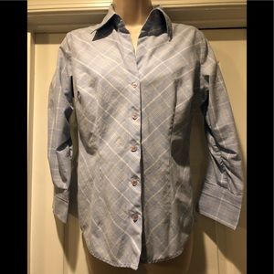NY&CO Women's Blue and White Plaid Blouse